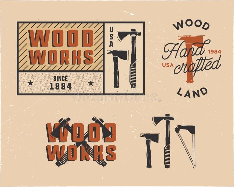 Uitstekende hand getrokken woodworks geplaatste markeringenemblemen en emblemen Het etiket van de timmerwerkdienst, flard De insi royalty-vrije illustratie