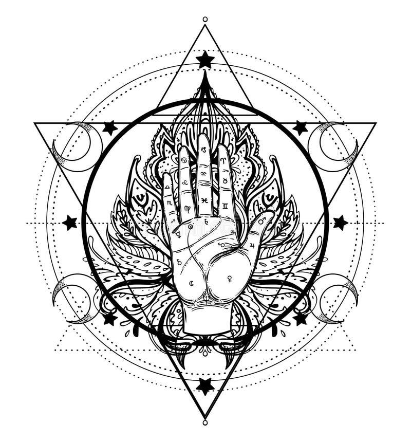 Uitstekende handen Hand getrokken schetsmatige illustratie met mysticus en o vector illustratie