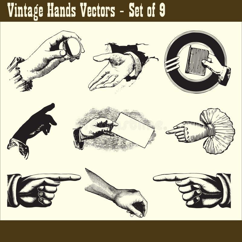 Uitstekende Handenvectoren royalty-vrije illustratie