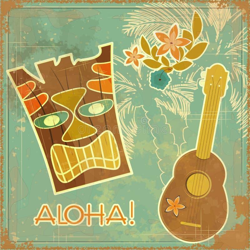 Uitstekende Hawaiiaanse kaart royalty-vrije illustratie