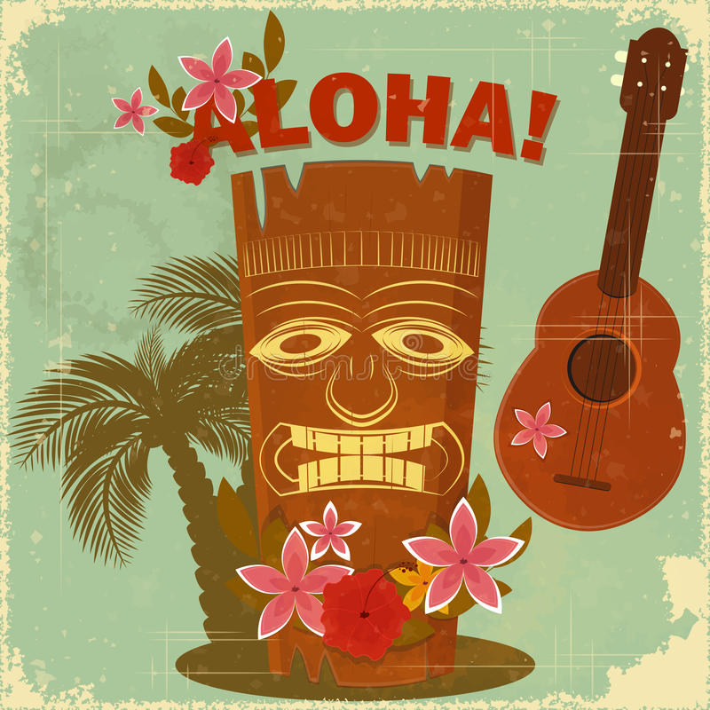 Uitstekende Hawaiiaanse prentbriefkaar stock illustratie