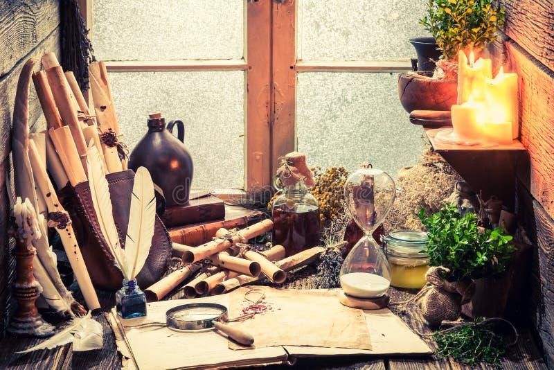 Uitstekende heksenworkshop met rollen en installaties stock afbeeldingen