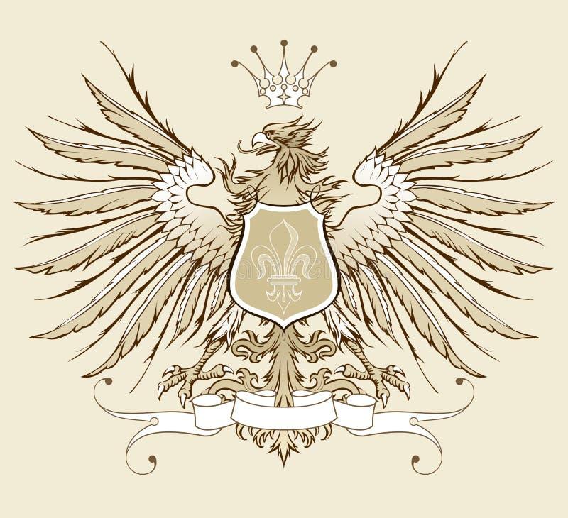 Uitstekende heraldische adelaar stock illustratie