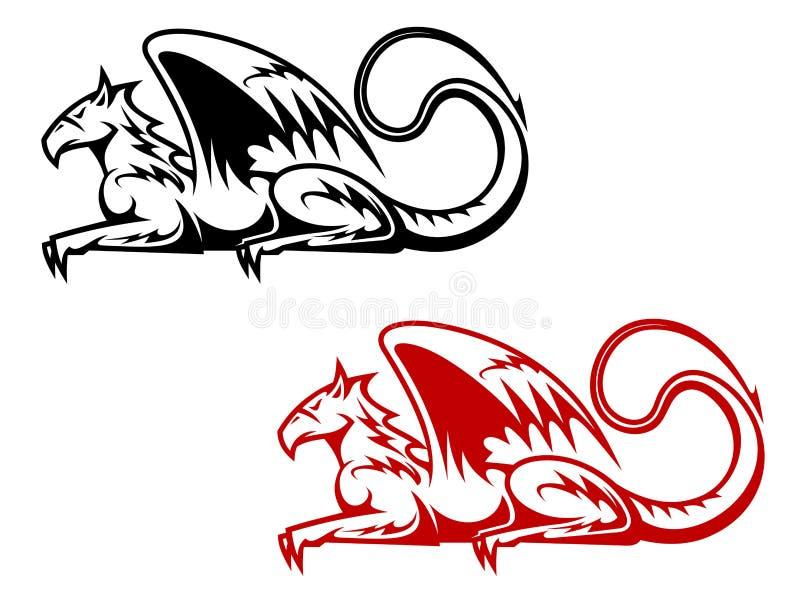 Uitstekende heraldische griffioen stock illustratie