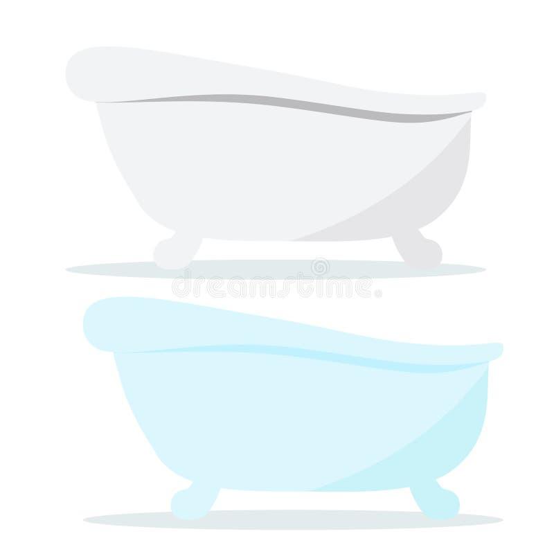 Uitstekende het badpictogrammen van de gietijzer witte en blauwe kleur met schaduwen die op witte achtergrond worden geïsoleerd vector illustratie