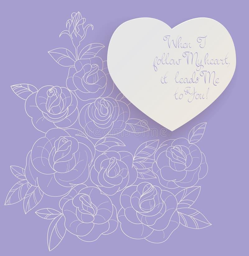 Uitstekende het boeket romantische citaten van kaartrozen royalty-vrije illustratie