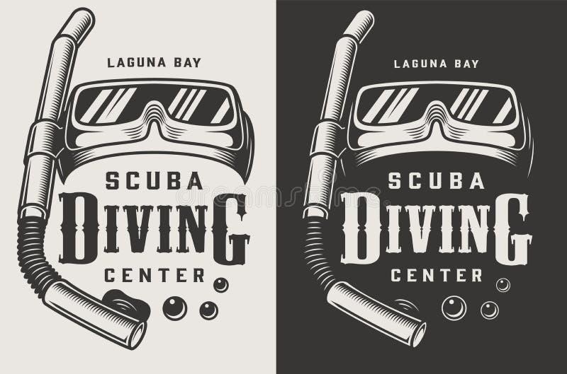 Uitstekende het duiken centrum zwart-wit logotypes stock illustratie