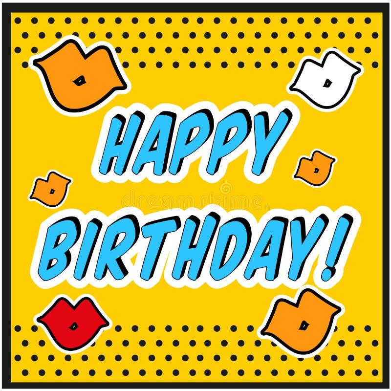 Uitstekende het Pop-artstijl van de Verjaardagskaart met kusteken vector illustratie