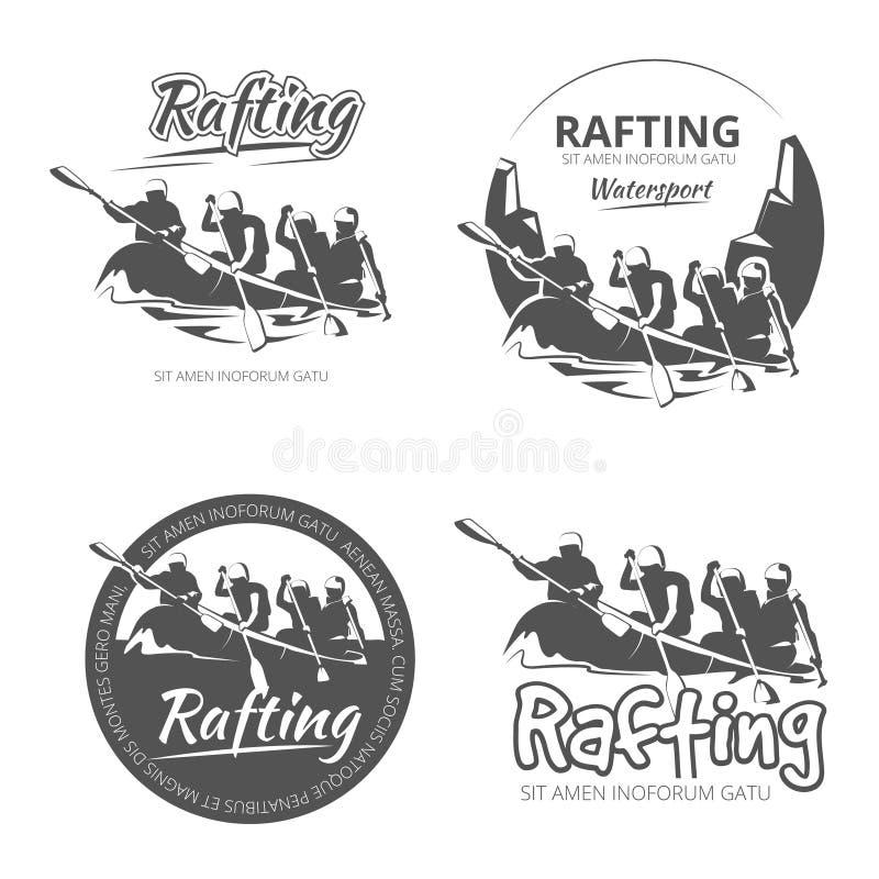 Uitstekende het rafting, kano en kajak vectoretiketten, geplaatste emblemenkentekens stock illustratie