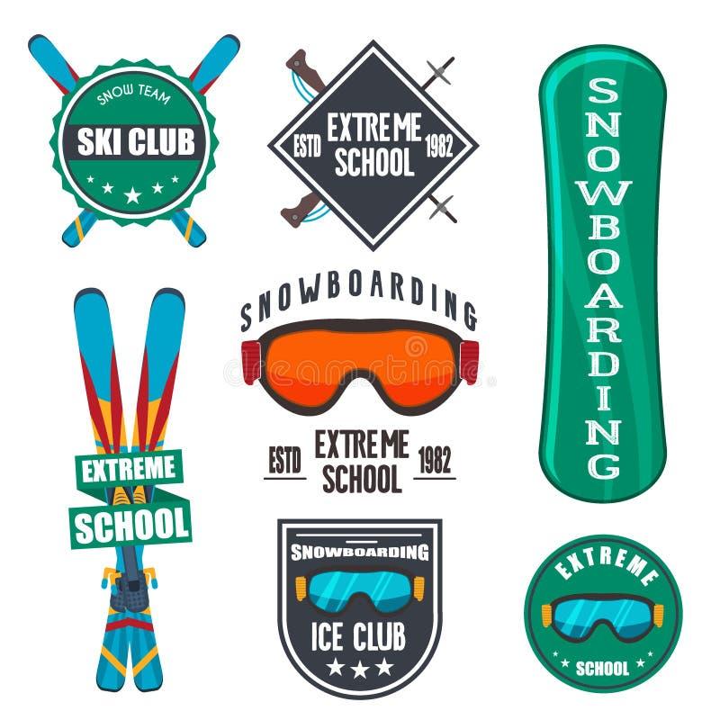 Uitstekende het snowboarding of wintersportenkentekens royalty-vrije illustratie