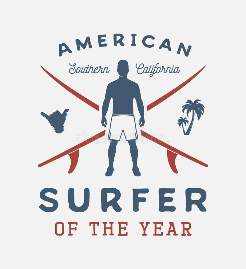 Uitstekende het surfen affiche met mens, shaka, palm en brandingsraad vector illustratie