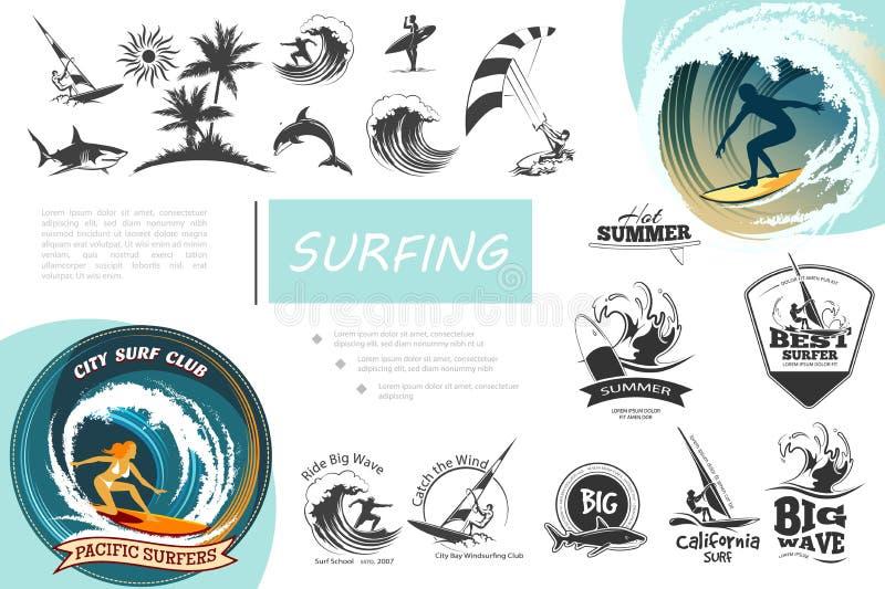 Uitstekende het surfen geplaatste elementen royalty-vrije illustratie