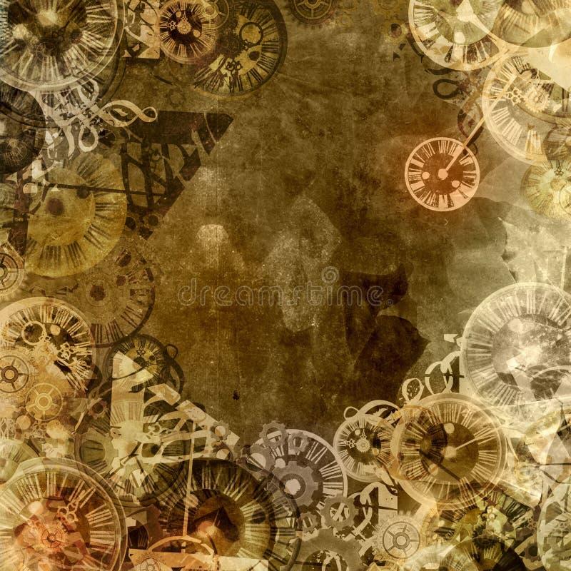 Uitstekende het themaachtergrond van de klokkentijd vector illustratie