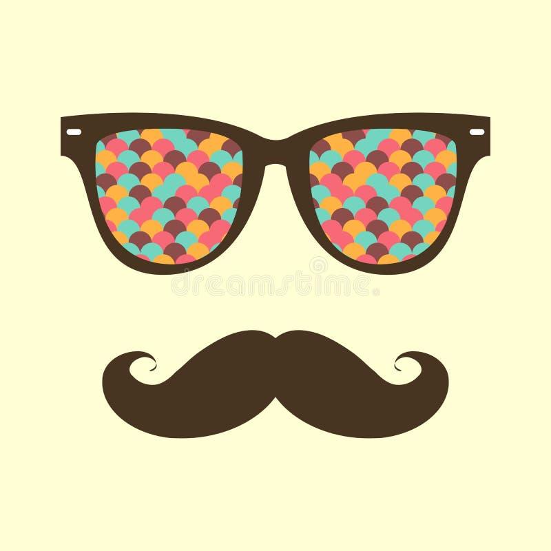 Uitstekende hipsterachtergrond Zonnebril en snor vector illustratie