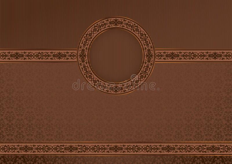Uitstekende horizontale kaart op damast naadloze backgro stock illustratie