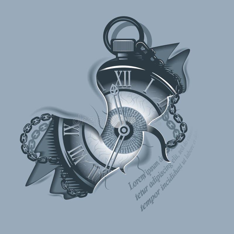 Uitstekende horloges in gescheurde huid stock illustratie