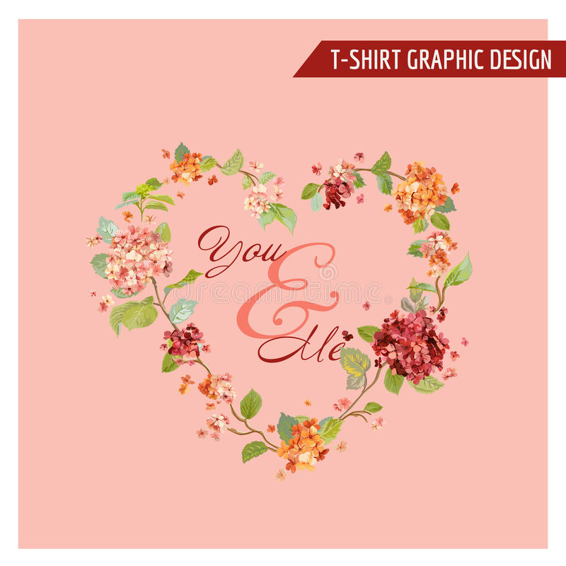Uitstekende Hortensia Floral Graphic Design - voor Kaart, T-shirt vector illustratie