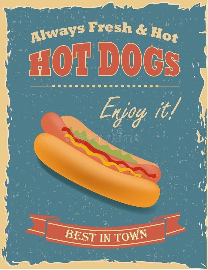Uitstekende Hotdogsaffiche stock illustratie