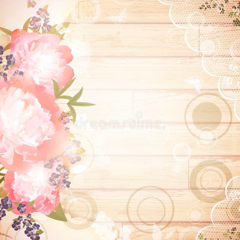 Uitstekende houten achtergrond met bloemendecoratie stock illustratie