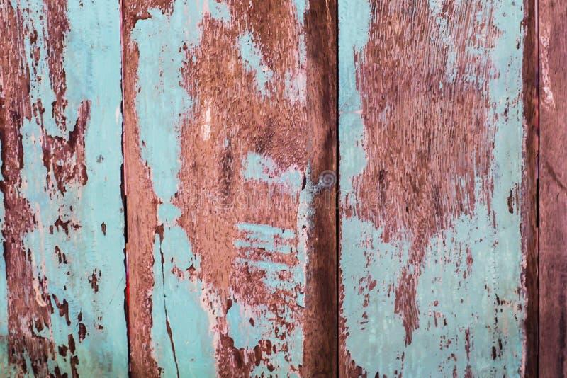 Uitstekende houten achtergrond met schilverf Uitstekende strand houten achtergrond - Oude doorstane houten geschilderde plank stock foto