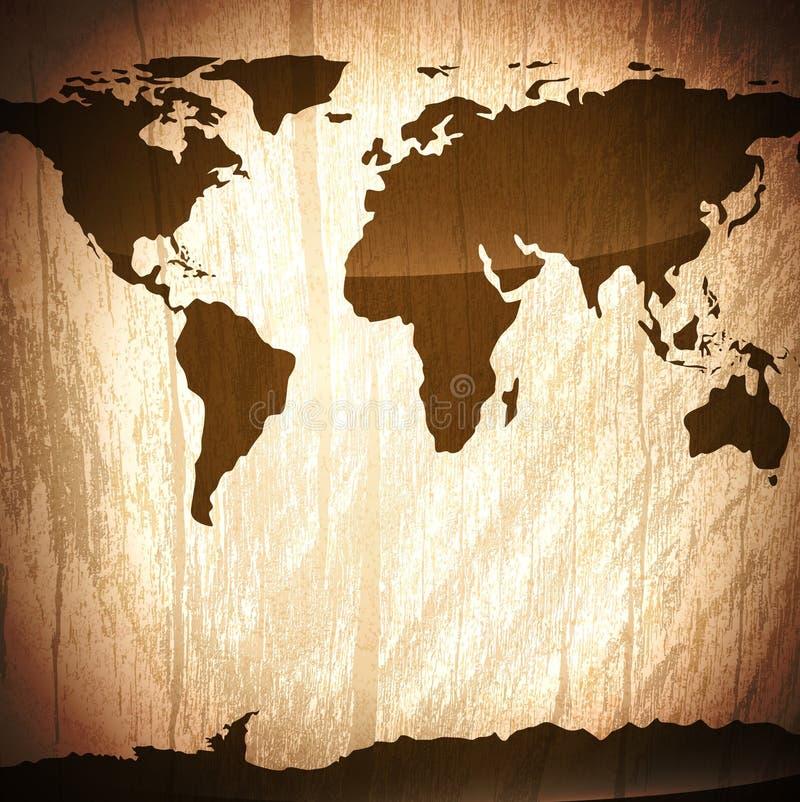 Uitstekende houten achtergrond met wereldkaart vector illustratie
