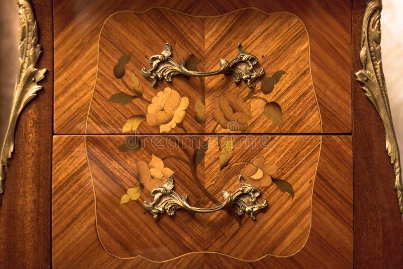 Uitstekende houten combo of nightstand royalty-vrije stock afbeeldingen
