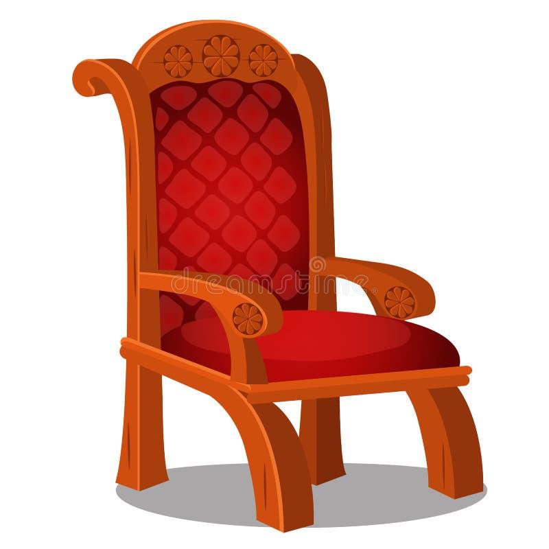 Uitstekende houten stoel met bekleed die rood op een witte achtergrond wordt geïsoleerd De vectorillustratie van het beeldverhaal royalty-vrije illustratie