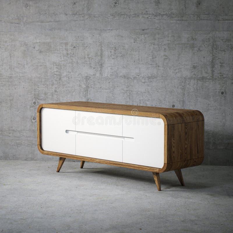 Uitstekende houten TV-tribune in concreet zolderbinnenland stock fotografie