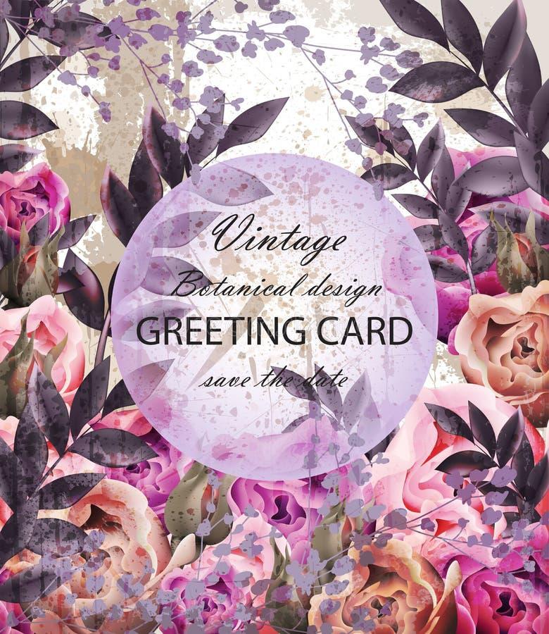 Uitstekende Huwelijkskaart met bloemendecorvector Mooi bloemenmalplaatje Van het de Uitnodigingsontwerp van de de lentezomer real stock illustratie