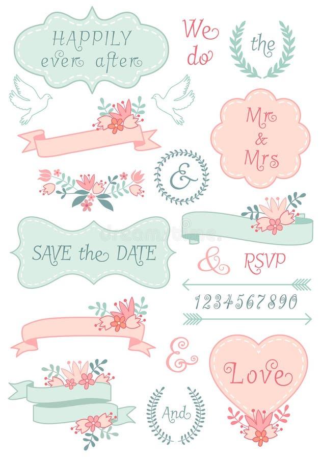 Uitstekende huwelijkskaders en linten, vectorreeks vector illustratie