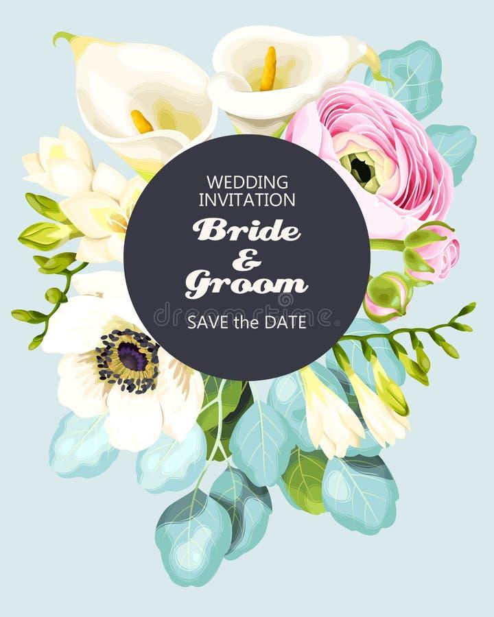 Uitstekende huwelijksuitnodiging royalty-vrije illustratie