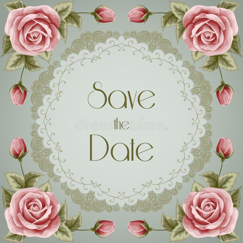 Uitstekende huwelijksuitnodiging met rozen stock illustratie