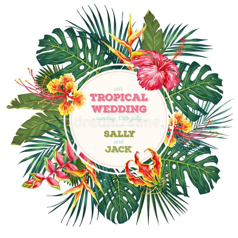 Uitstekende huwelijksuitnodiging In tropisch bladeren en bloemenontwerp Botanische Vectorillustratie stock fotografie