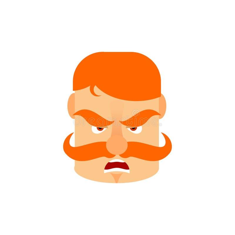 Uitstekende Ier met rode snor boze Emoji Retro Mensen zien a onder ogen royalty-vrije illustratie