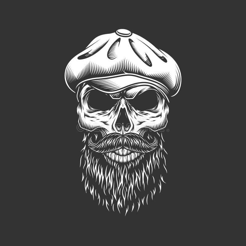 Uitstekende Ierse schedel in gatsby hoed vector illustratie