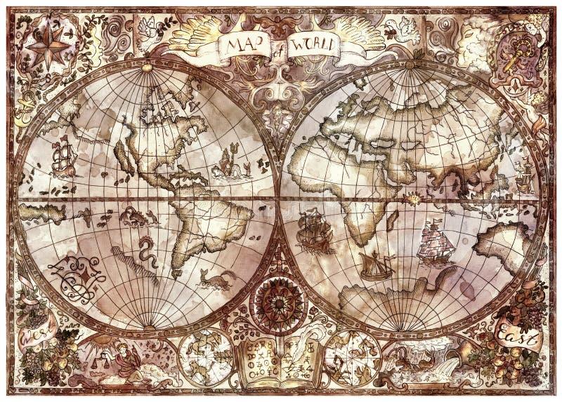 Uitstekende illustratie met de antieke kaart van de wereldatlas vector illustratie