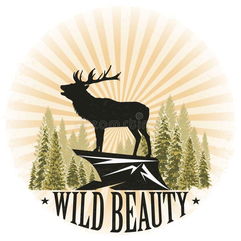 Uitstekende illustratie met een silhouet van een hert in de zon Lange sparren en bergklip De schoonheid en de macht van het wild  royalty-vrije illustratie