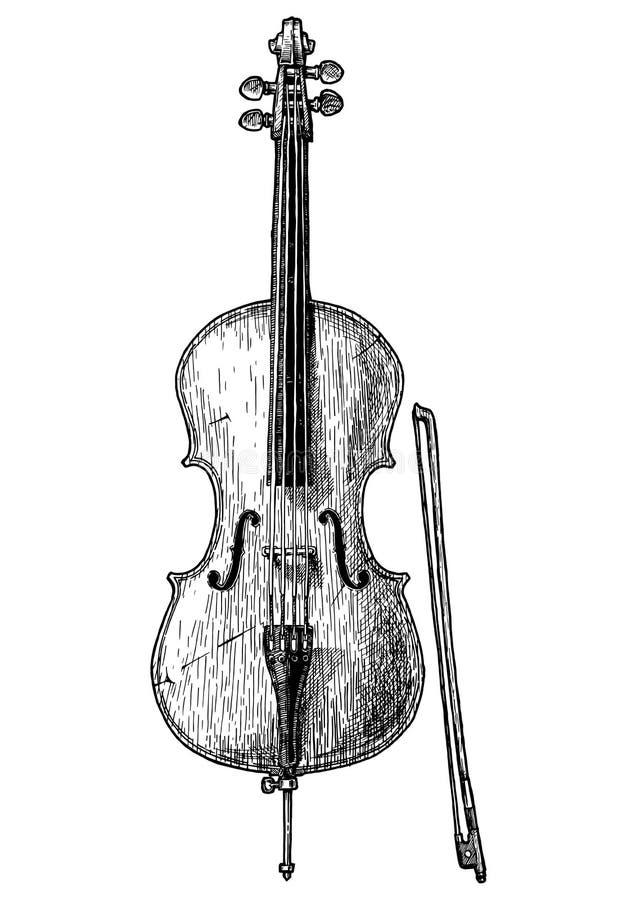 Uitstekende illustratie van Cello vector illustratie
