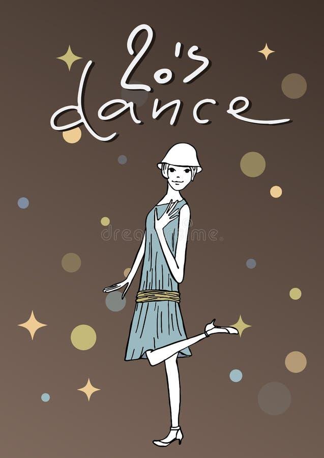 Uitstekende illustratie van dansend meisje stock foto