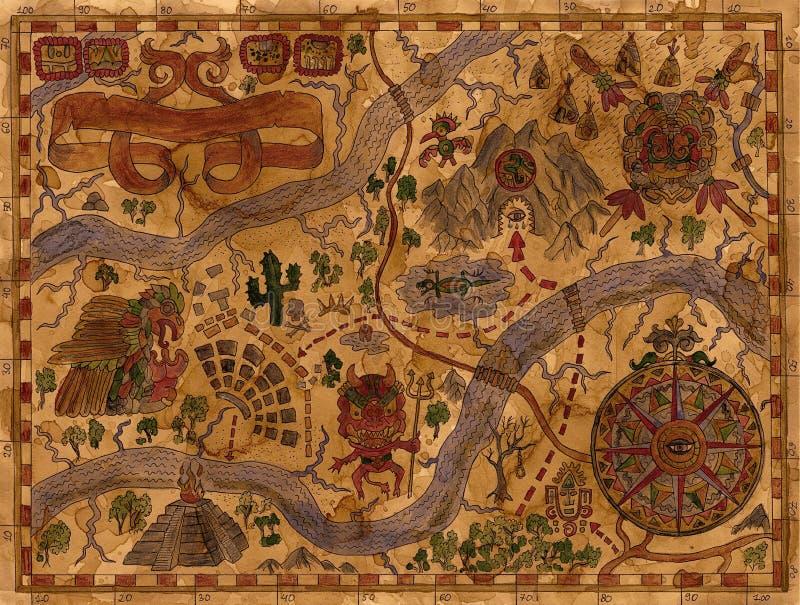 Uitstekende illustratie van de kaart van piraatavonturen met schatten vector illustratie