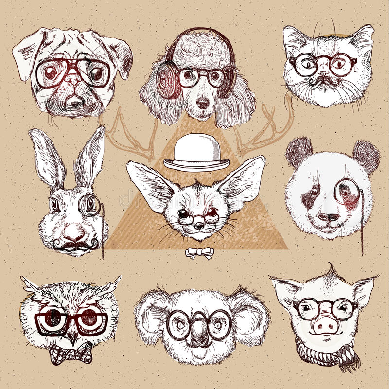 Uitstekende illustratie van hipsterdier die met glazen in vector wordt geplaatst royalty-vrije illustratie