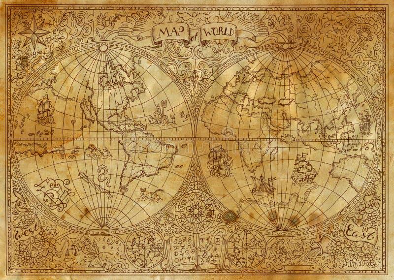 Uitstekende illustratie van oude atlaskaart van wereld op oud document royalty-vrije illustratie