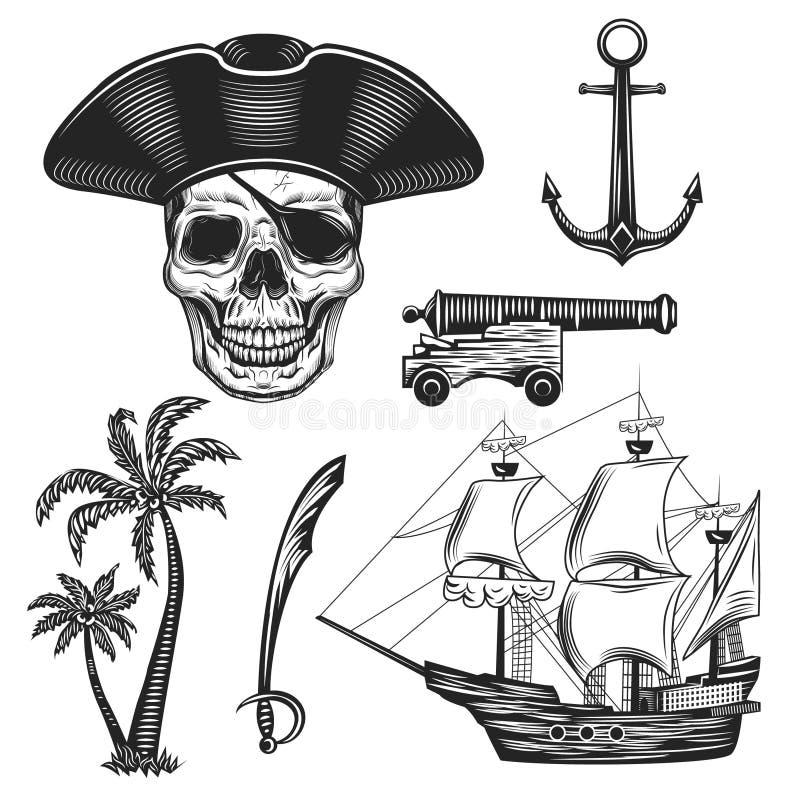 Uitstekende illustratiereeks piraten stock fotografie