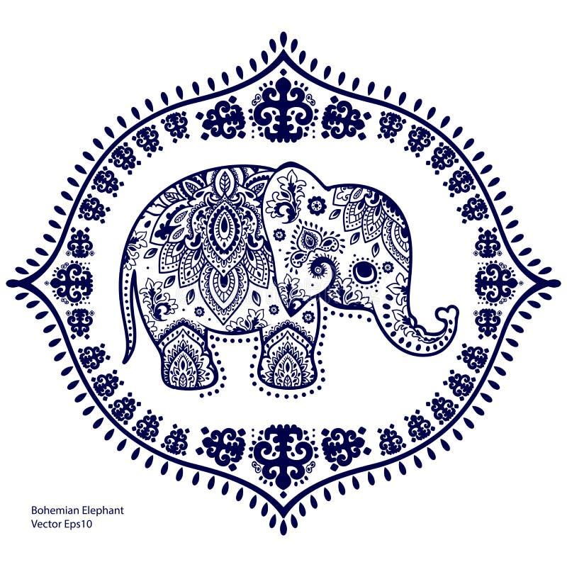 Uitstekende Indische olifant met stammenornamenten Mandalagroet vector illustratie