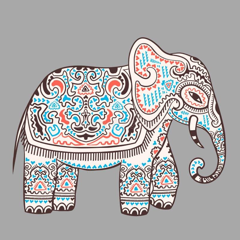 Uitstekende Indische olifant met stammenornamenten Mandalagroet royalty-vrije illustratie