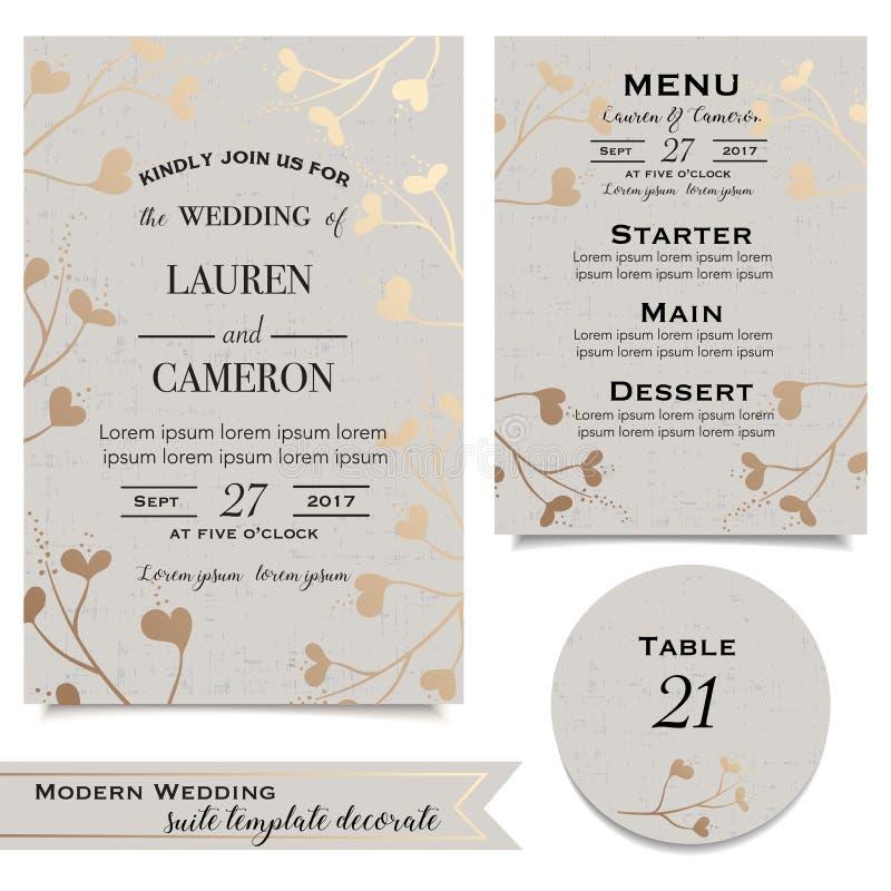 Uitstekende invitaionkaart Huwelijksuitnodiging in beige en gouden schaduwen stock illustratie