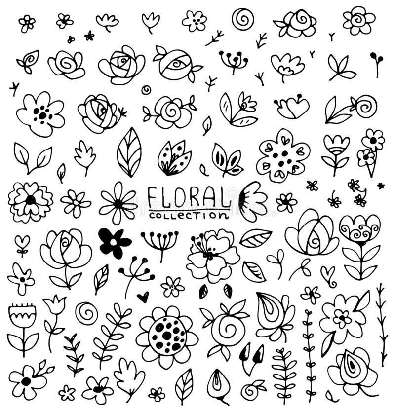 Uitstekende inzameling van hand getrokken bloemen royalty-vrije illustratie