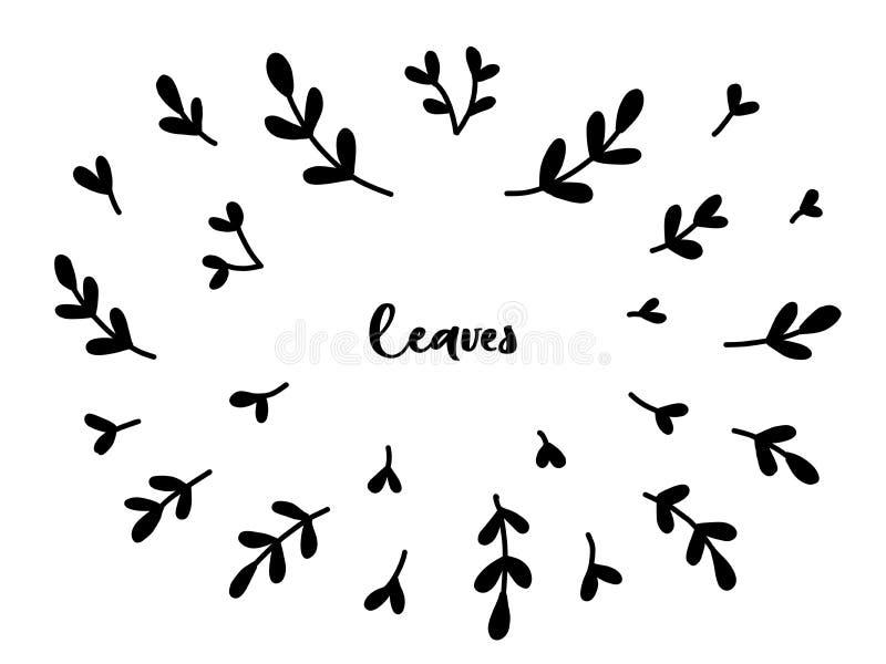 Uitstekende inzameling van hand getrokken boomtakken met bladeren royalty-vrije illustratie