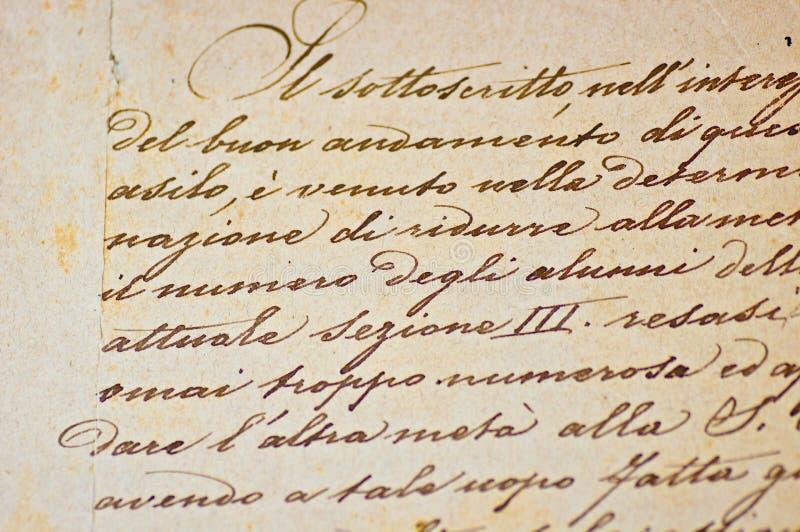 Uitstekende Italiaanse Met de hand geschreven Tekst stock foto