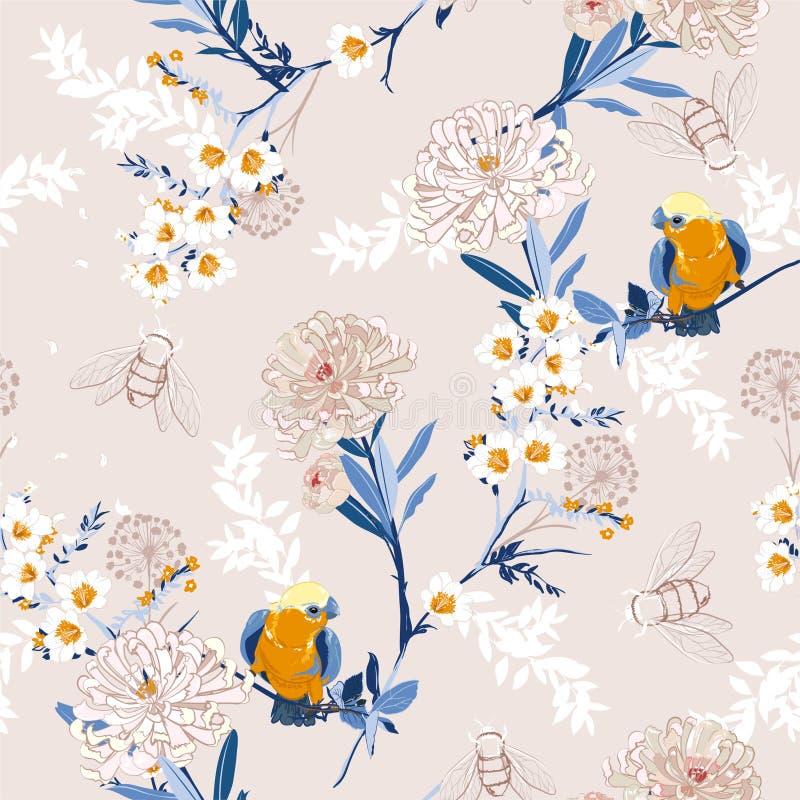 Uitstekende Japanse bloeiende bloemen, takken, bladeren en vogels V stock illustratie